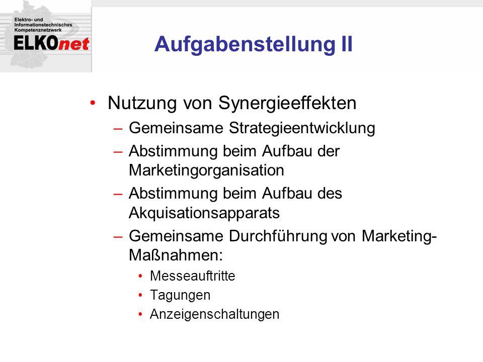 Aufgabenstellung II Nutzung von Synergieeffekten –Gemeinsame Strategieentwicklung –Abstimmung beim Aufbau der Marketingorganisation –Abstimmung beim A