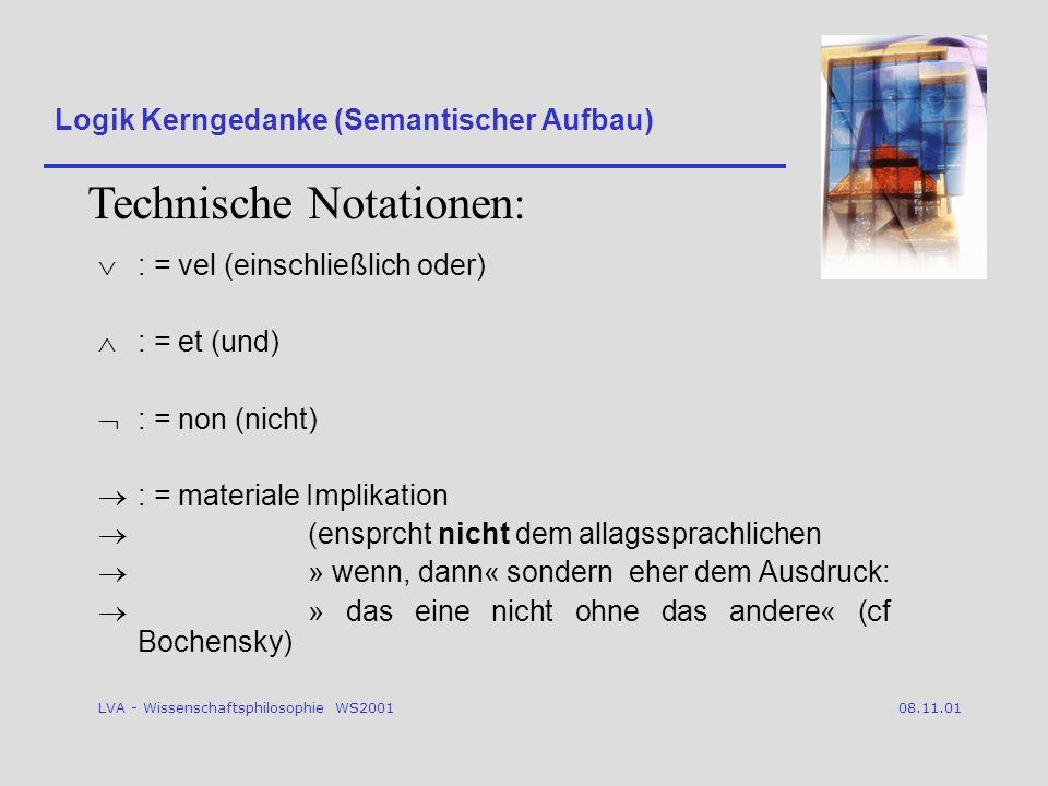 LVA - Wissenschaftsphilosophie WS2001 08.11.01 : = vel (einschließlich oder) : = et (und) : = non (nicht) : = materiale Implikation (ensprcht nicht dem allagssprachlichen » wenn, dann« sondern eher dem Ausdruck: » das eine nicht ohne das andere« (cf Bochensky) Logik Kerngedanke (Semantischer Aufbau) Technische Notationen:
