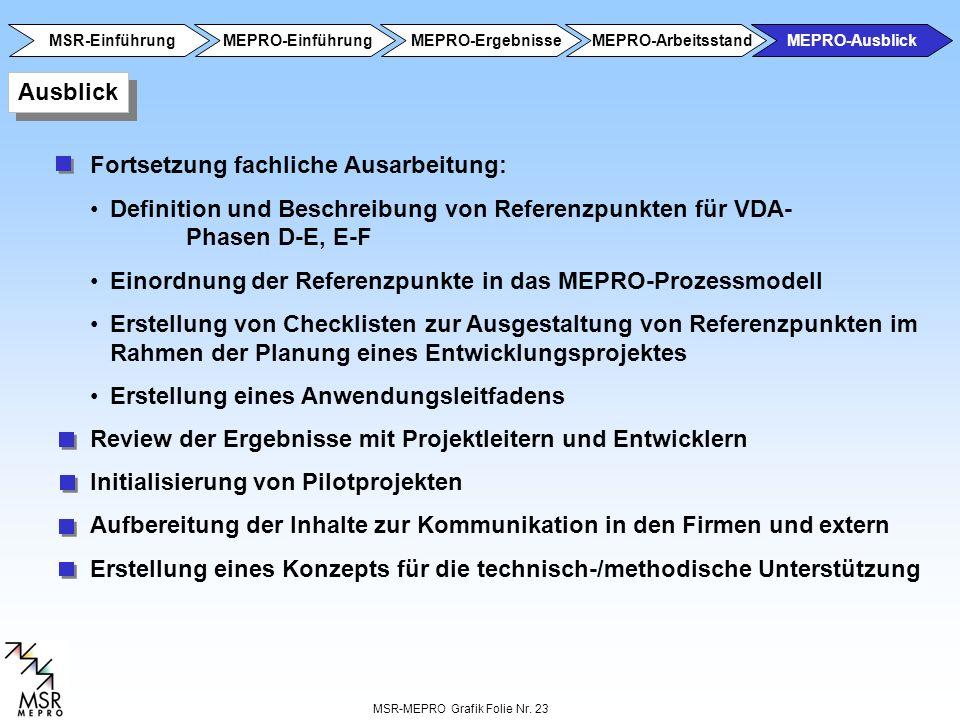 MSR-MEPRO Grafik Folie Nr. 23 Ausblick Fortsetzung fachliche Ausarbeitung: Definition und Beschreibung von Referenzpunkten für VDA- Phasen D-E, E-F Ei