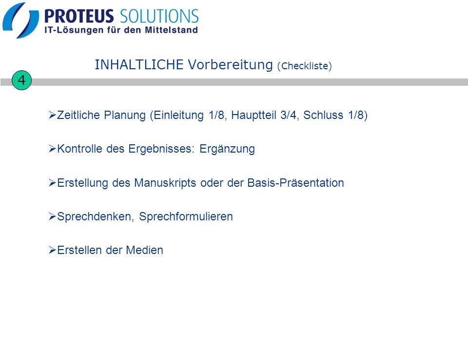 INHALTLICHE Vorbereitung (Checkliste) Zeitliche Planung (Einleitung 1/8, Hauptteil 3/4, Schluss 1/8) Kontrolle des Ergebnisses: Ergänzung Erstellung d