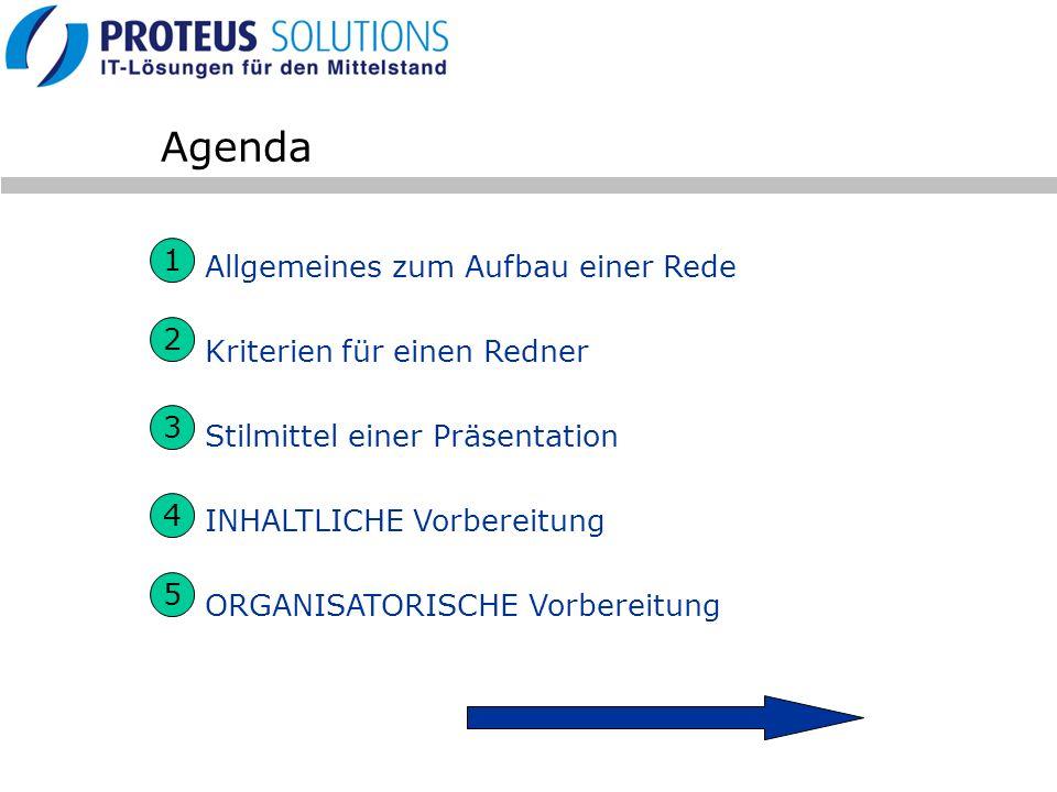 Agenda Allgemeines zum Aufbau einer Rede Kriterien für einen Redner Stilmittel einer Präsentation INHALTLICHE Vorbereitung ORGANISATORISCHE Vorbereitu