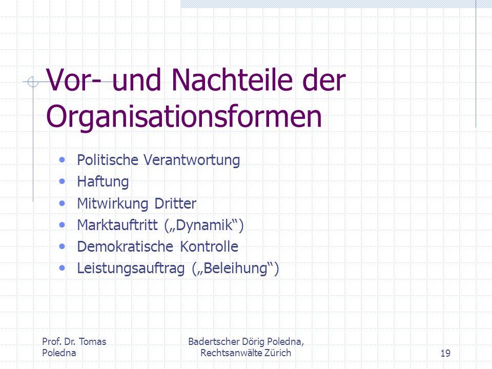 Prof. Dr. Tomas Poledna Badertscher Dörig Poledna, Rechtsanwälte Zürich19 Vor- und Nachteile der Organisationsformen Politische Verantwortung Haftung