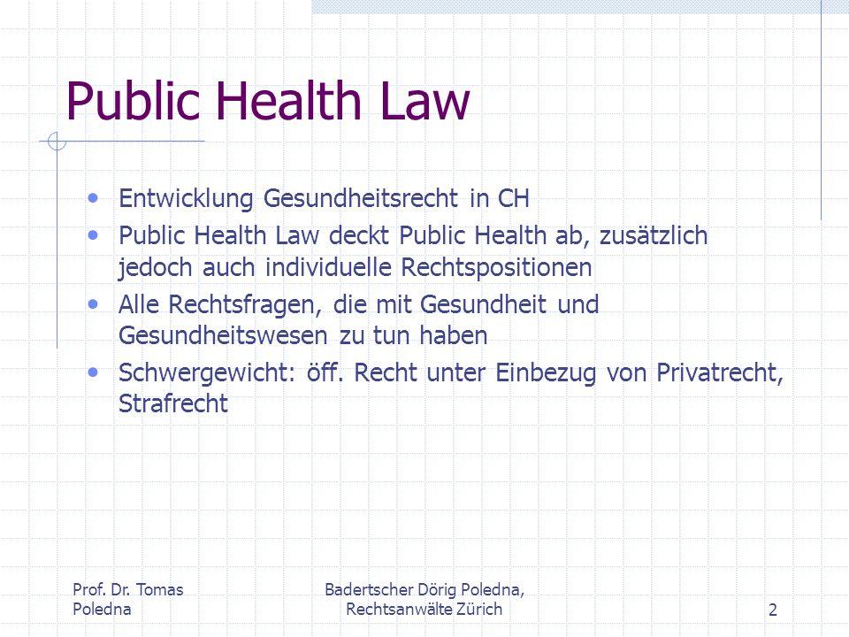 Prof. Dr. Tomas Poledna Badertscher Dörig Poledna, Rechtsanwälte Zürich2 Public Health Law Entwicklung Gesundheitsrecht in CH Public Health Law deckt