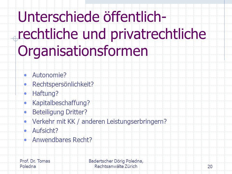 Prof. Dr. Tomas Poledna Badertscher Dörig Poledna, Rechtsanwälte Zürich20 Unterschiede öffentlich- rechtliche und privatrechtliche Organisationsformen