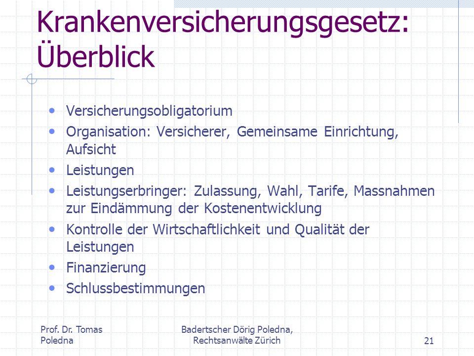 Prof. Dr. Tomas Poledna Badertscher Dörig Poledna, Rechtsanwälte Zürich21 Krankenversicherungsgesetz: Überblick Versicherungsobligatorium Organisation