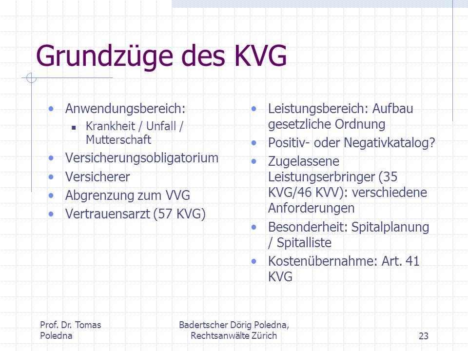 Prof. Dr. Tomas Poledna Badertscher Dörig Poledna, Rechtsanwälte Zürich23 Grundzüge des KVG Anwendungsbereich: Krankheit / Unfall / Mutterschaft Versi