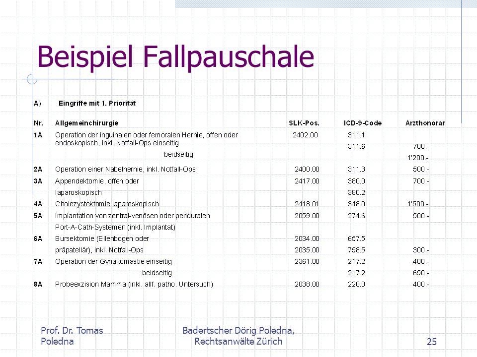 Prof. Dr. Tomas Poledna Badertscher Dörig Poledna, Rechtsanwälte Zürich25 Beispiel Fallpauschale