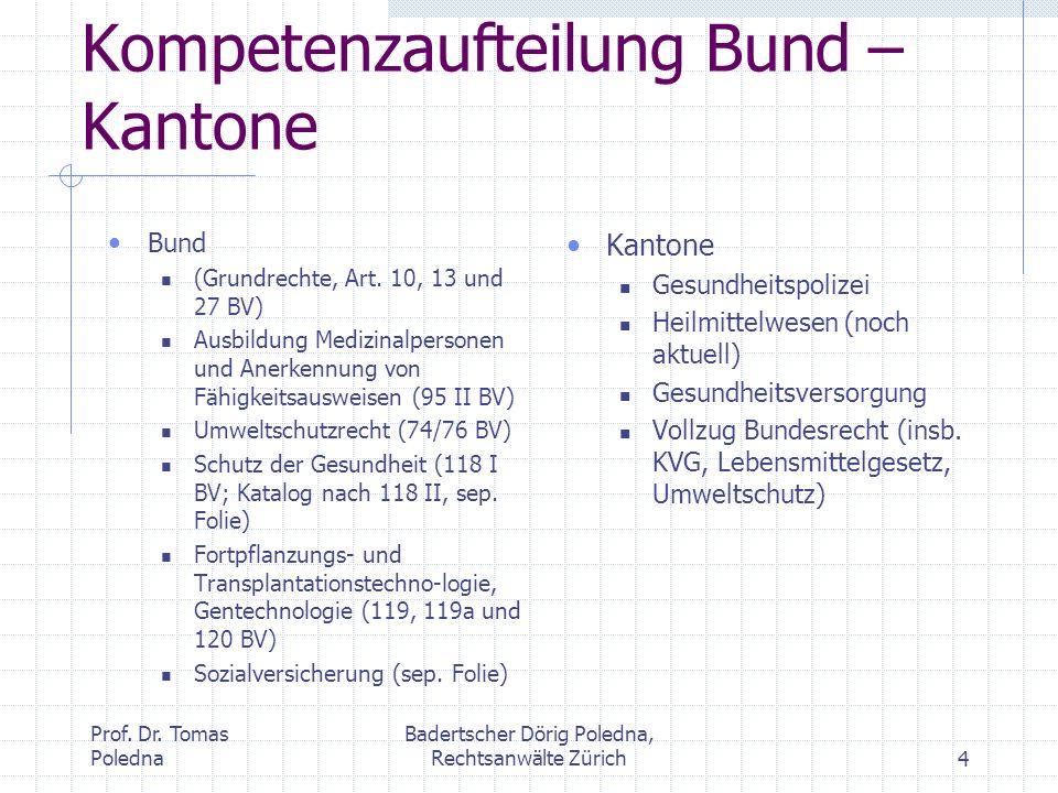 Prof. Dr. Tomas Poledna Badertscher Dörig Poledna, Rechtsanwälte Zürich4 Kompetenzaufteilung Bund – Kantone Bund (Grundrechte, Art. 10, 13 und 27 BV)