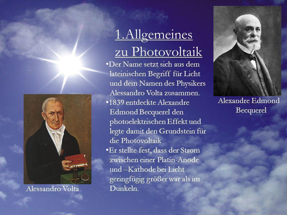 1.Allgemeines zu Photovoltaik Der Name setzt sich aus dem lateinischen Begriff für Licht und dem Namen des Physikers Alessandro Volta zusammen. 1839 e