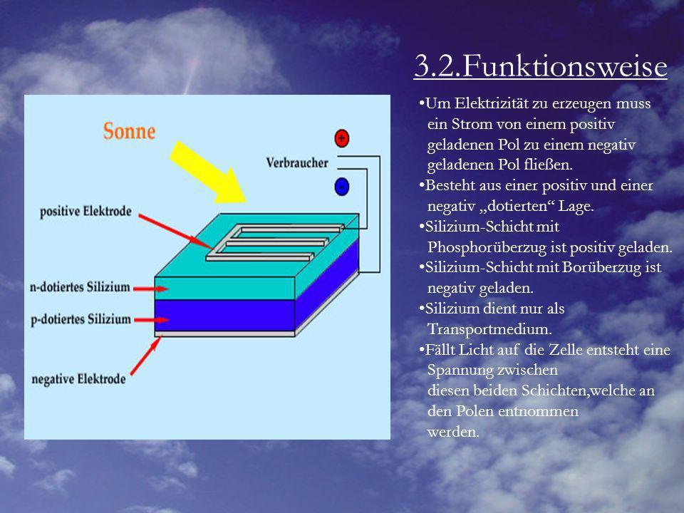 3.2.Funktionsweise Um Elektrizität zu erzeugen muss ein Strom von einem positiv geladenen Pol zu einem negativ geladenen Pol fließen. Besteht aus eine