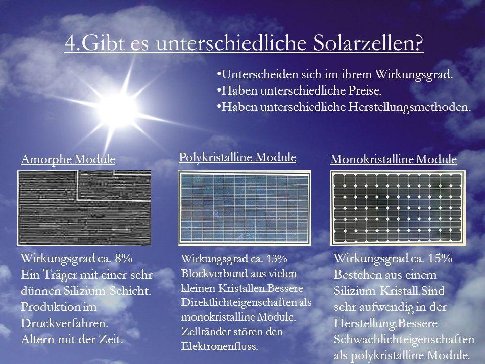 4.Gibt es unterschiedliche Solarzellen? Unterscheiden sich im ihrem Wirkungsgrad. Haben unterschiedliche Preise. Haben unterschiedliche Herstellungsme