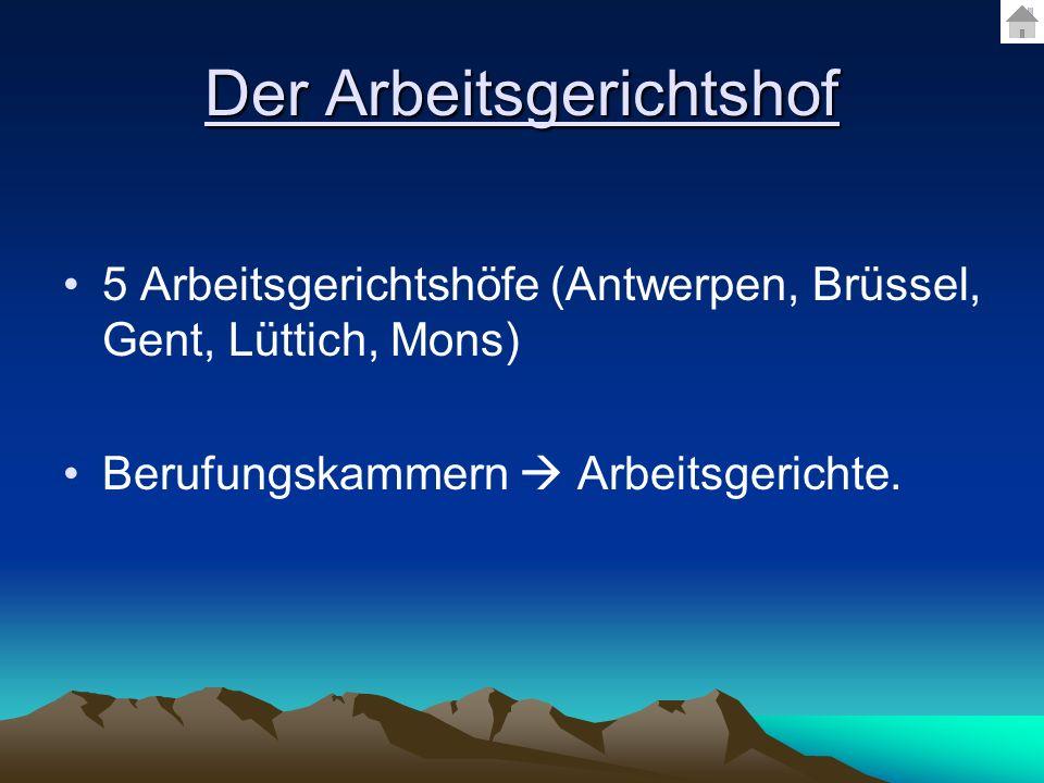 Der Arbeitsgerichtshof 5 Arbeitsgerichtshöfe (Antwerpen, Brüssel, Gent, Lüttich, Mons) Berufungskammern Arbeitsgerichte.