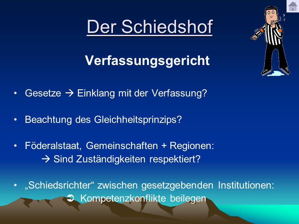 Der Schiedshof Verfassungsgericht Gesetze Einklang mit der Verfassung? Beachtung des Gleichheitsprinzips? Föderalstaat, Gemeinschaften + Regionen: Sin