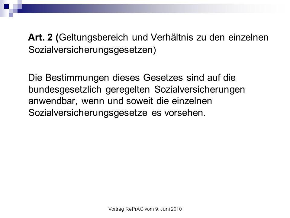 Vortrag RePrAG vom 9.Juni 2010 Beispiel IVG Art. 1 Abs.