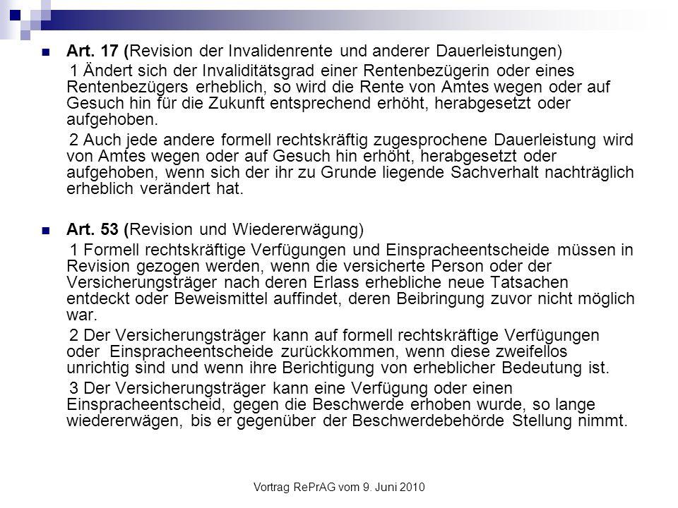 Vortrag RePrAG vom 9.Juni 2010 Verfahrensbestimmungen (3) Rechtspflegeverfahren (Art.