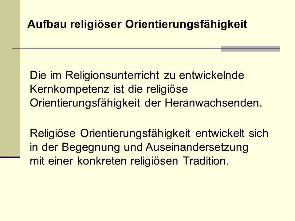 Religiöses Orientierungswissen verfügbar machen.Lebensweltliche Aneignungsfähigkeit unterstützen.