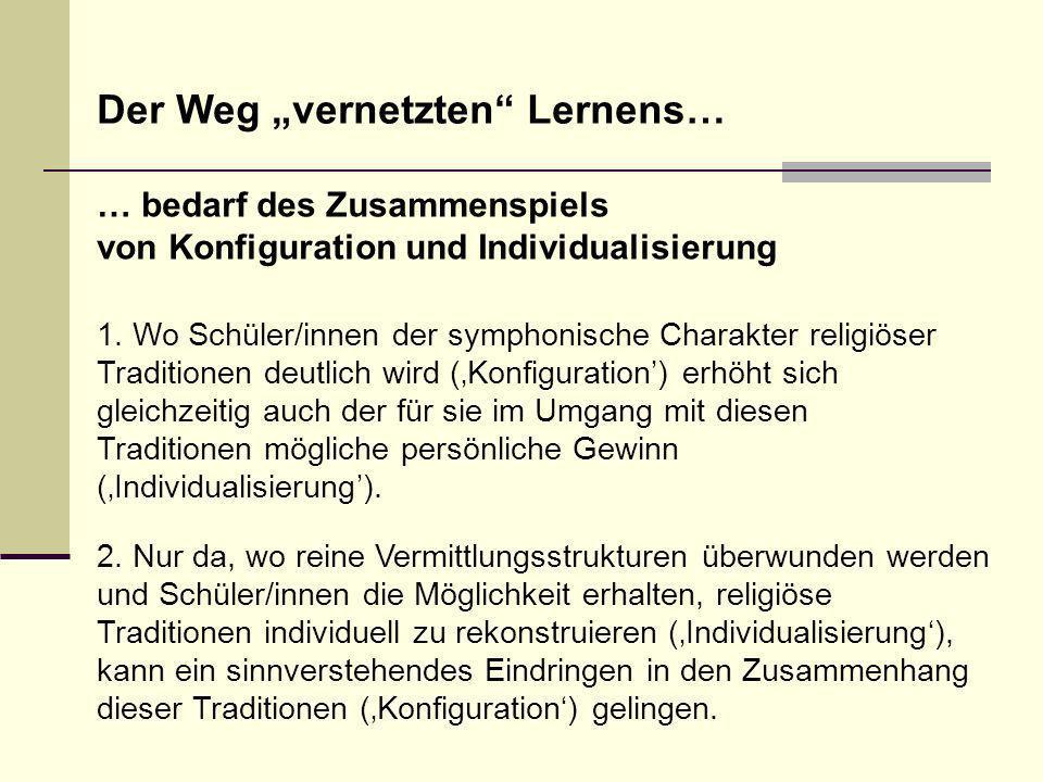 1. Wo Schüler/innen der symphonische Charakter religiöser Traditionen deutlich wird (Konfiguration) erhöht sich gleichzeitig auch der für sie im Umgan