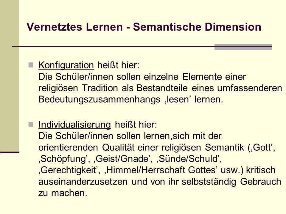 Vernetztes Lernen - Semantische Dimension Konfiguration heißt hier: Die Schüler/innen sollen einzelne Elemente einer religiösen Tradition als Bestandt