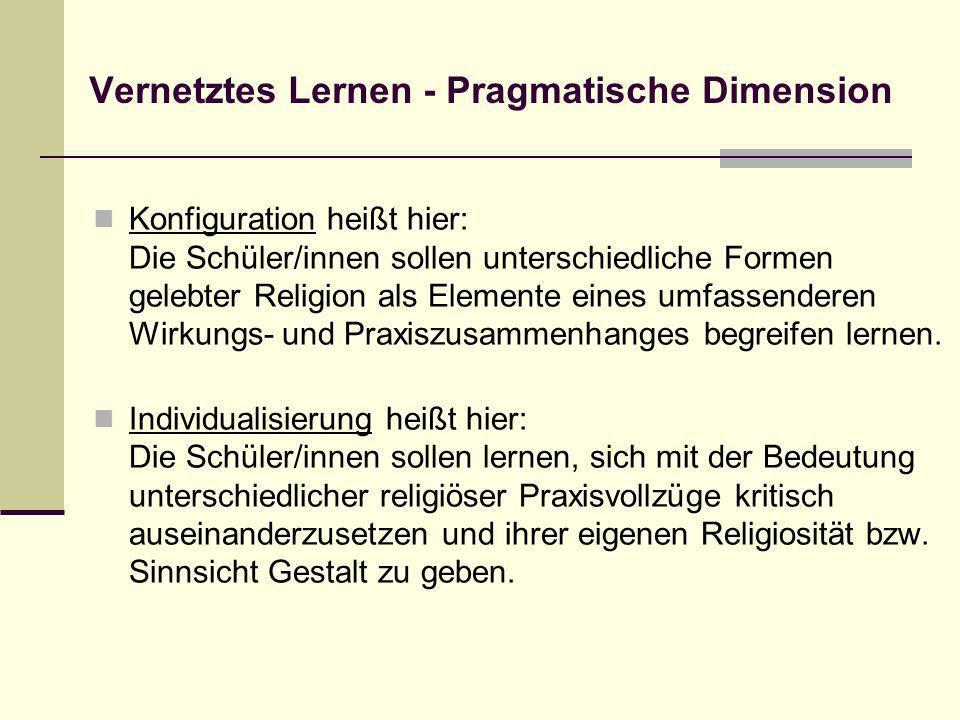 Vernetztes Lernen - Pragmatische Dimension Konfiguration heißt hier: Die Schüler/innen sollen unterschiedliche Formen gelebter Religion als Elemente e