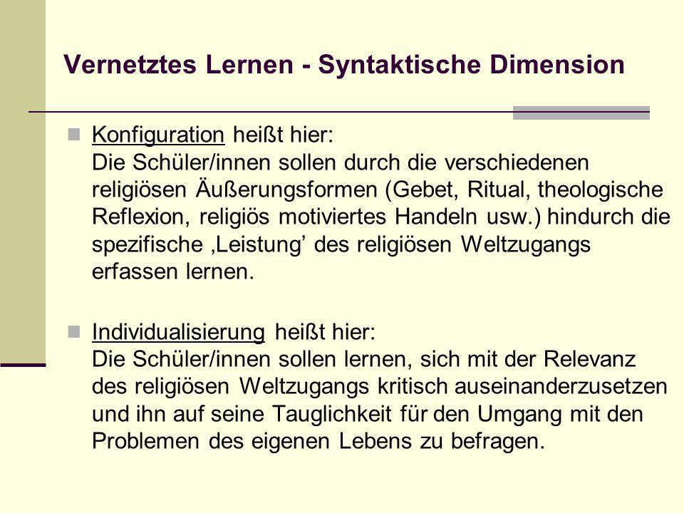 Vernetztes Lernen - Syntaktische Dimension Konfiguration heißt hier: Die Schüler/innen sollen durch die verschiedenen religiösen Äußerungsformen (Gebe