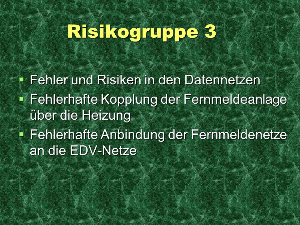 Risikogruppe 3 Risikogruppe 3 Fehler und Risiken in den Datennetzen Fehler und Risiken in den Datennetzen Fehlerhafte Kopplung der Fernmeldeanlage übe