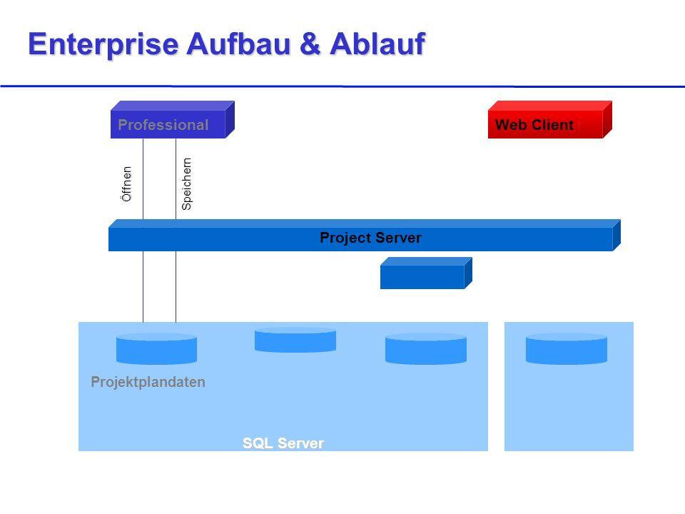 SQL Server Projektplandaten ProfessionalWeb Client ÖffnenSpeichern Project Server Enterprise Aufbau & Ablauf