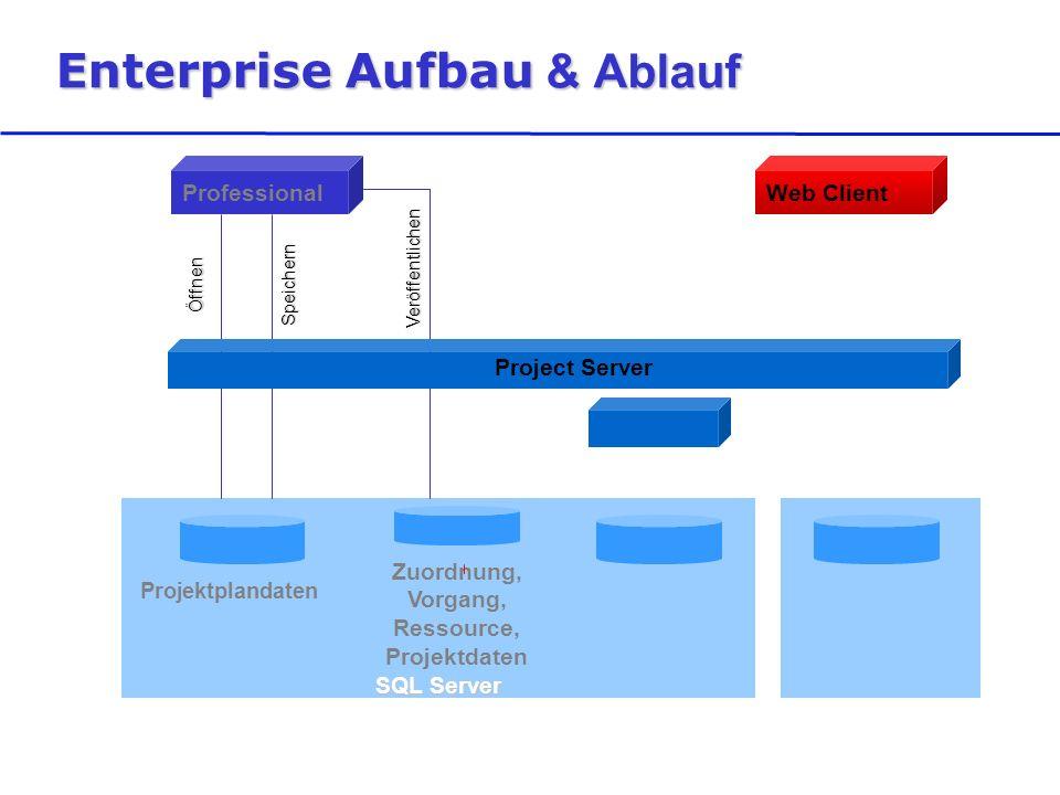 SQL Server Enterprise Aufbau & Ablauf Projektplandaten Zuordnung, Vorgang, Ressource, Projektdaten ProfessionalWeb Client ÖffnenSpeichern Veröffentlichen Project Server