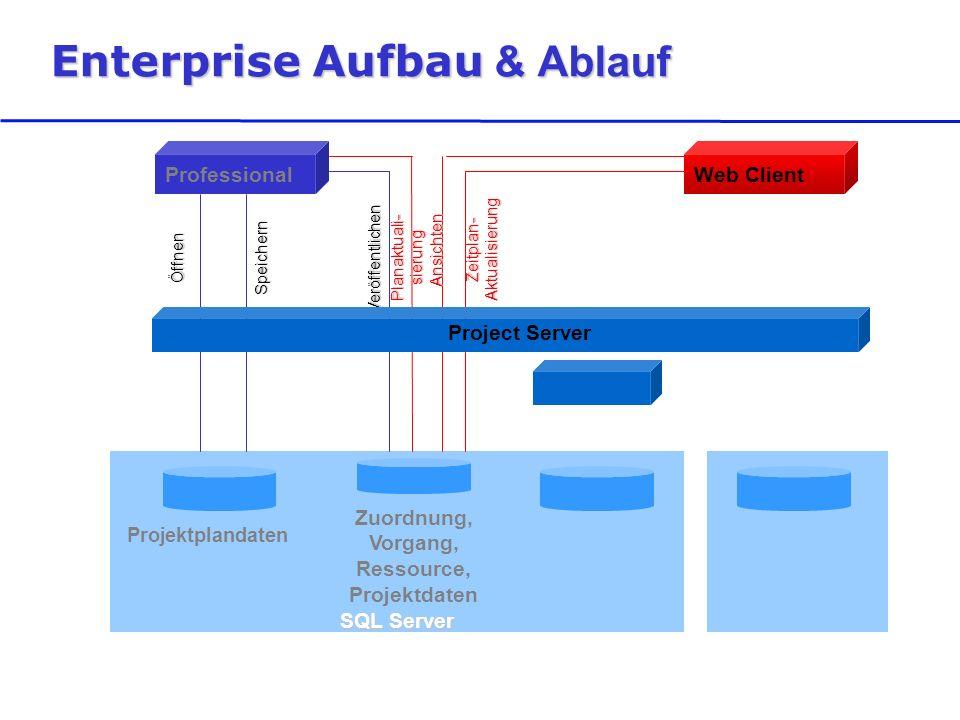 SQL Server Enterprise Aufbau & Ablauf Projektplandaten Zuordnung, Vorgang, Ressource, Projektdaten ProfessionalWeb Client ÖffnenSpeichern Veröffentlichen Planaktuali- sierung Zeitplan- Aktualisierung Ansichten Project Server