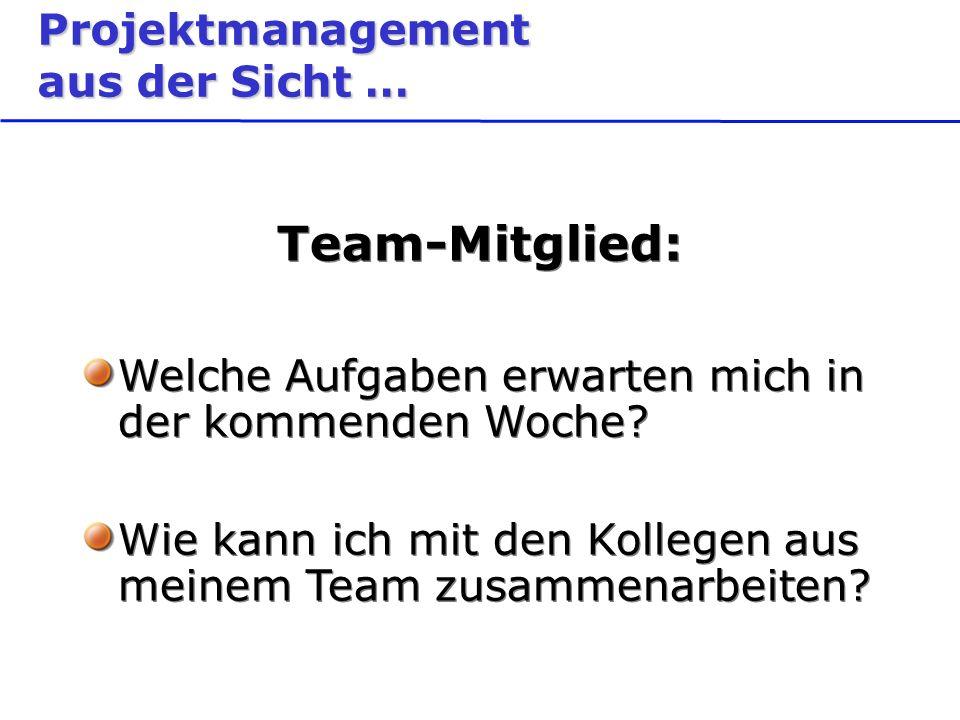 Projektmanagement aus der Sicht … Team-Mitglied: Welche Aufgaben erwarten mich in der kommenden Woche.