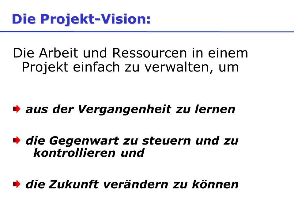 Die Projekt-Vision: Die Arbeit und Ressourcen in einem Projekt einfach zu verwalten, um aus der Vergangenheit zu lernen die Gegenwart zu steuern und zu kontrollieren und die Zukunft verändern zu können