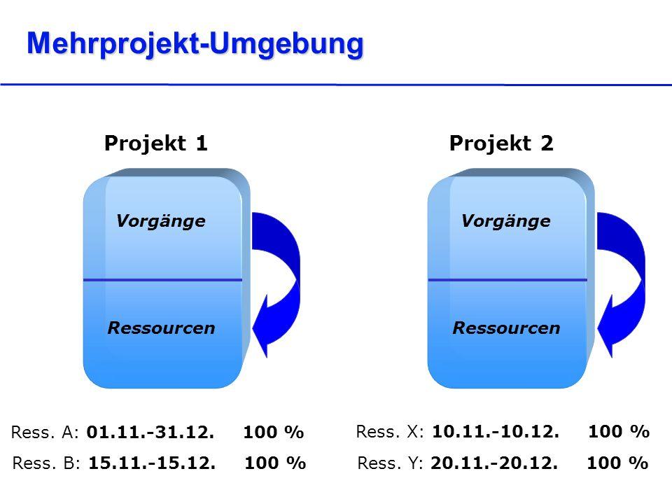 Mehrprojekt-Umgebung Vorgänge Ressourcen Projekt 2 Ress.