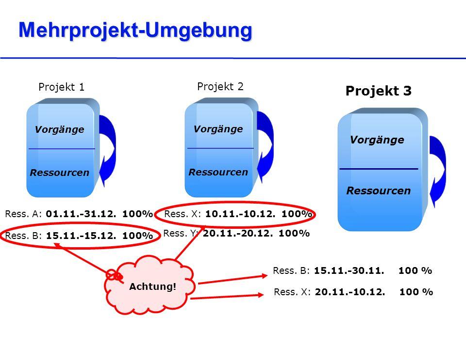 Mehrprojekt-Umgebung Ress. B: 15.11.-30.11. 100 % Ress. X: 20.11.-10.12. 100 % Achtung! Vorgänge Ressourcen Projekt 1 Vorgänge Ressourcen Projekt 2 Vo