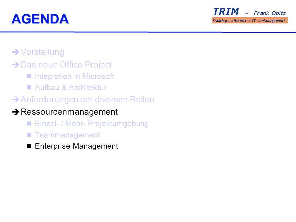 AGENDA Vorstellung Das neue Office Project Integration in Microsoft Aufbau & Architektur Anforderungen der diversen Rollen Ressourcenmanagement Einzel