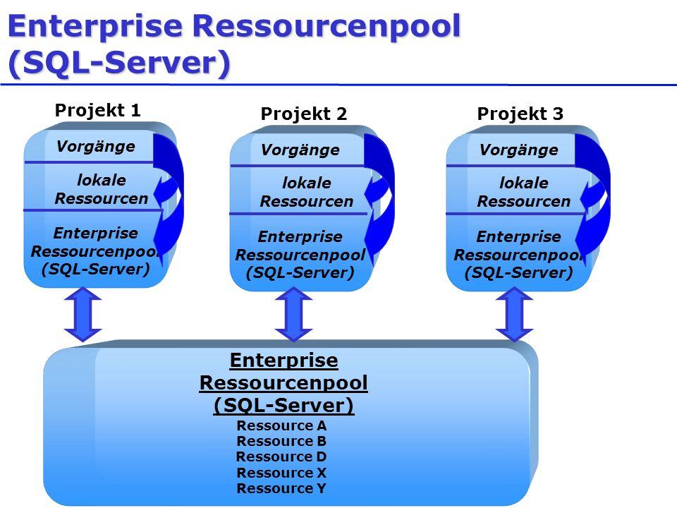 Enterprise Ressourcenpool (SQL-Server) Ressource A Ressource B Ressource D Ressource X Ressource Y Projekt 1 Vorgänge Enterprise Ressourcenpool (SQL-S