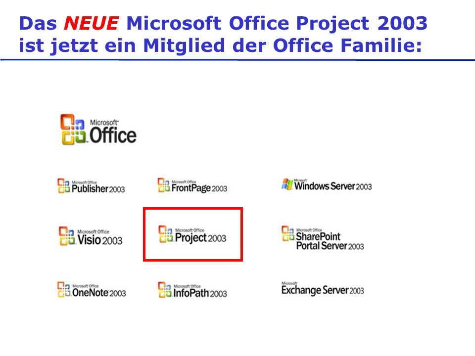 Office Project 2003 Standard Office Project 2003 Professional Office Project Server 2003 Project Web Access (CAL) External Connector Neu.