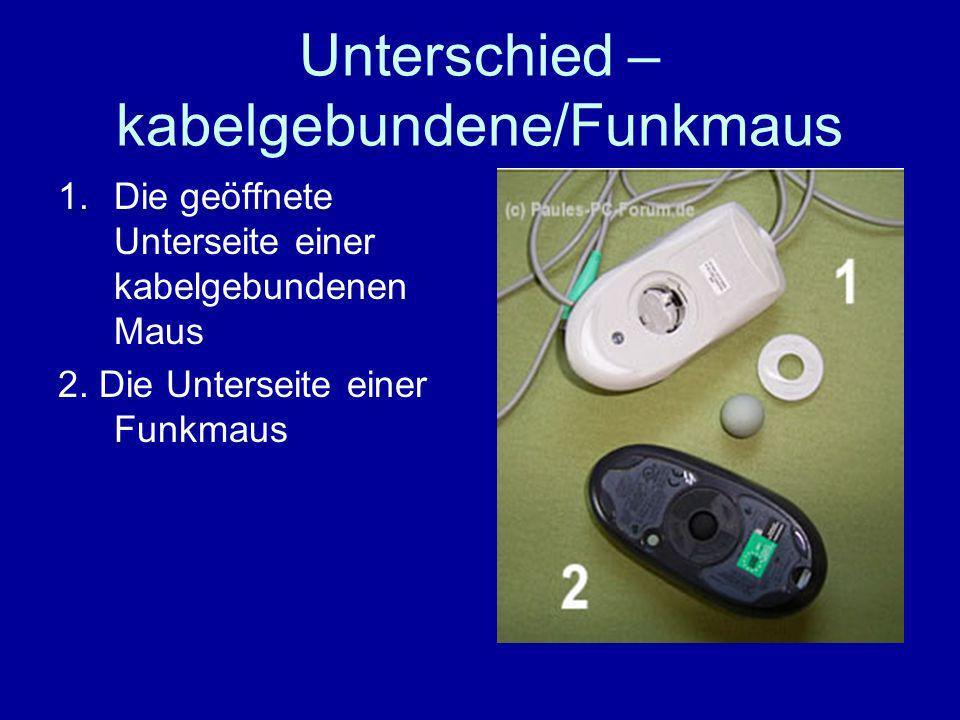 Unterschied – kabelgebundene/Funkmaus 1.Die geöffnete Unterseite einer kabelgebundenen Maus 2.