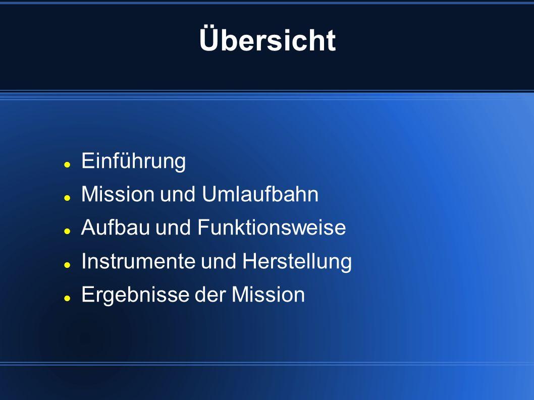 Übersicht Einführung Mission und Umlaufbahn Aufbau und Funktionsweise Instrumente und Herstellung Ergebnisse der Mission