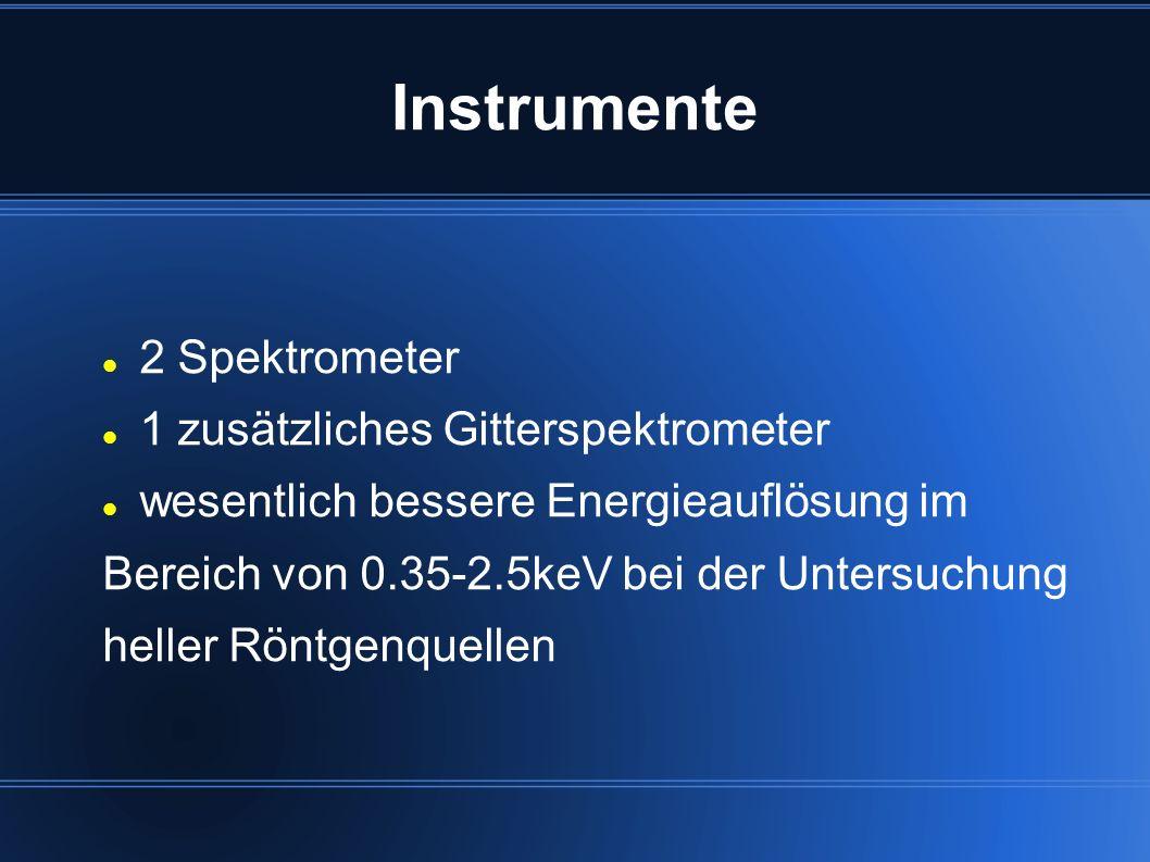 Instrumente 2 Spektrometer 1 zusätzliches Gitterspektrometer wesentlich bessere Energieauflösung im Bereich von 0.35-2.5keV bei der Untersuchung helle