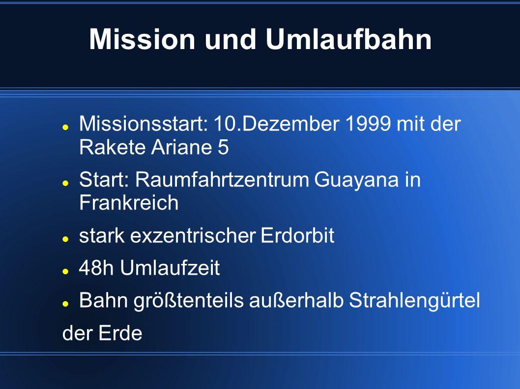 Mission und Umlaufbahn Missionsstart: 10.Dezember 1999 mit der Rakete Ariane 5 Start: Raumfahrtzentrum Guayana in Frankreich stark exzentrischer Erdor