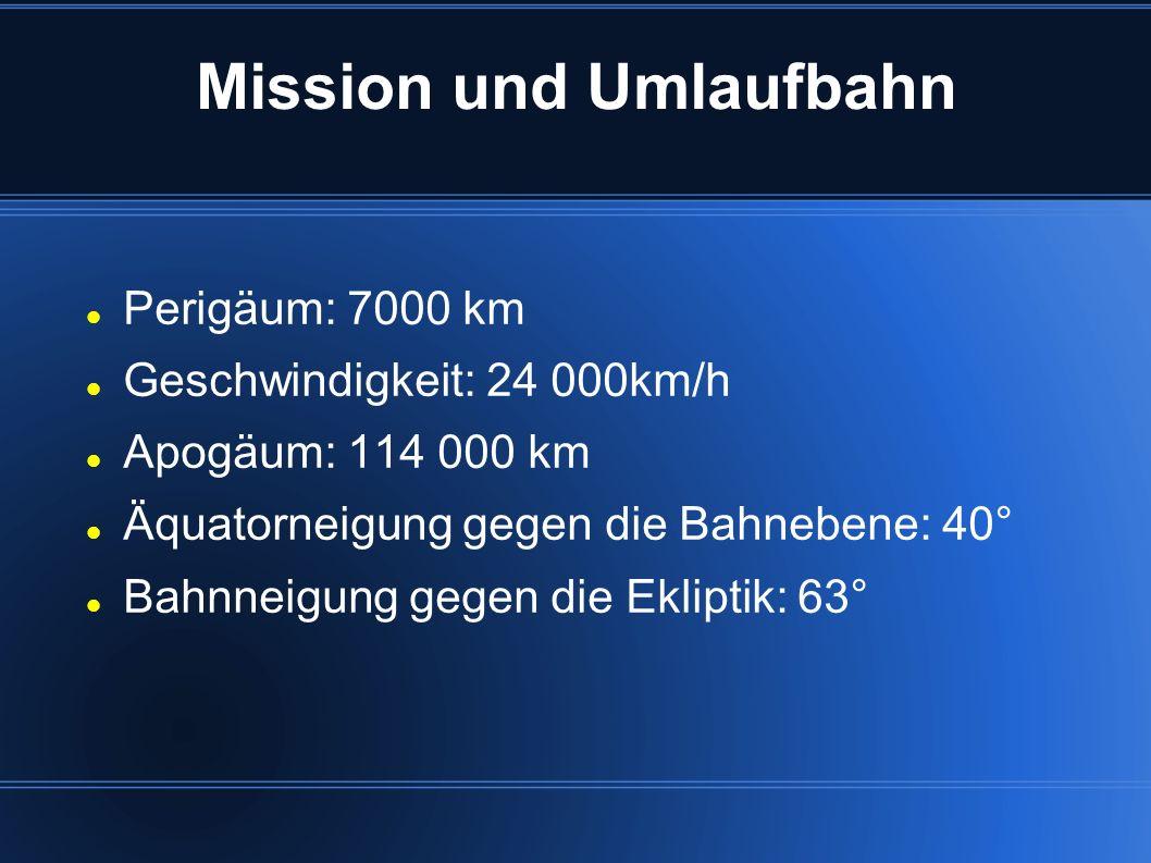 Mission und Umlaufbahn Perigäum: 7000 km Geschwindigkeit: 24 000km/h Apogäum: 114 000 km Äquatorneigung gegen die Bahnebene: 40° Bahnneigung gegen die