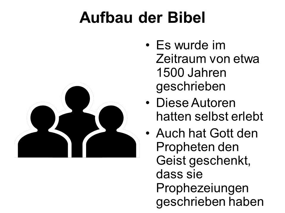 Aufbau der Bibel Es wurde im Zeitraum von etwa 1500 Jahren geschrieben Diese Autoren hatten selbst erlebt Auch hat Gott den Propheten den Geist geschenkt, dass sie Prophezeiungen geschrieben haben