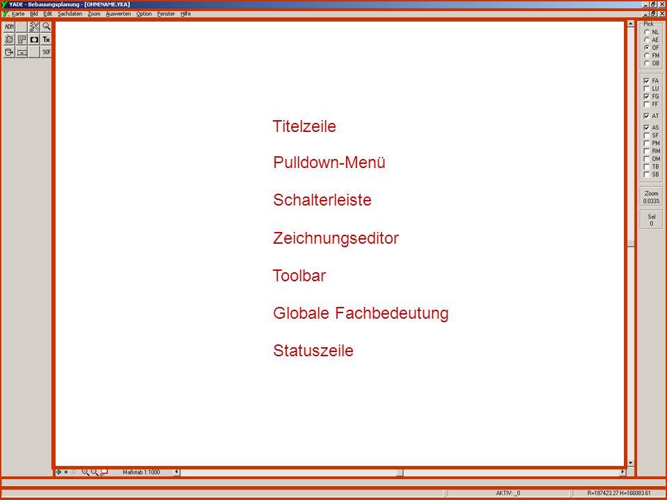 Schulung YADE-BPlan Copyright: SRP 4 Globale Fachbedeutung Toolbar Zeichnungseditor Statuszeile Schalterleiste Titelzeile Pulldown-Menü