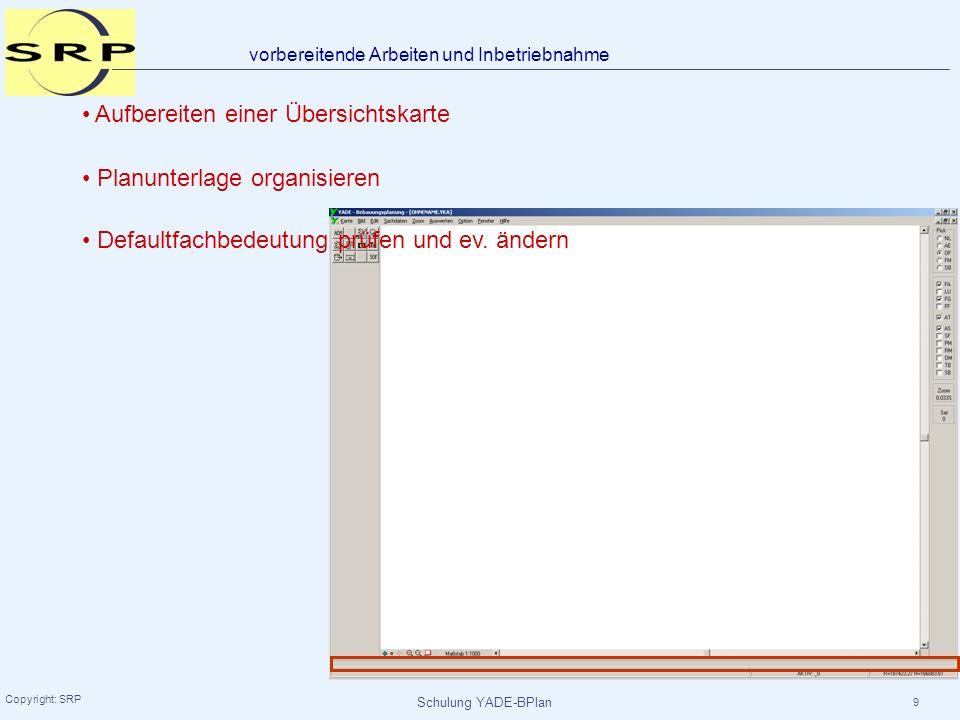 Schulung YADE-BPlan Copyright: SRP 50 in der Nebenzeichnung: Konstruktion erzeugen