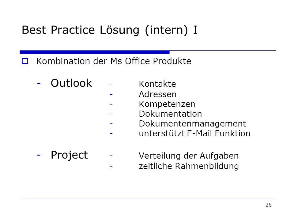 26 Best Practice Lösung (intern) I Kombination der Ms Office Produkte -Outlook -Kontakte -Adressen -Kompetenzen -Dokumentation -Dokumentenmanagement -unterstützt E-Mail Funktion -Project -Verteilung der Aufgaben -zeitliche Rahmenbildung