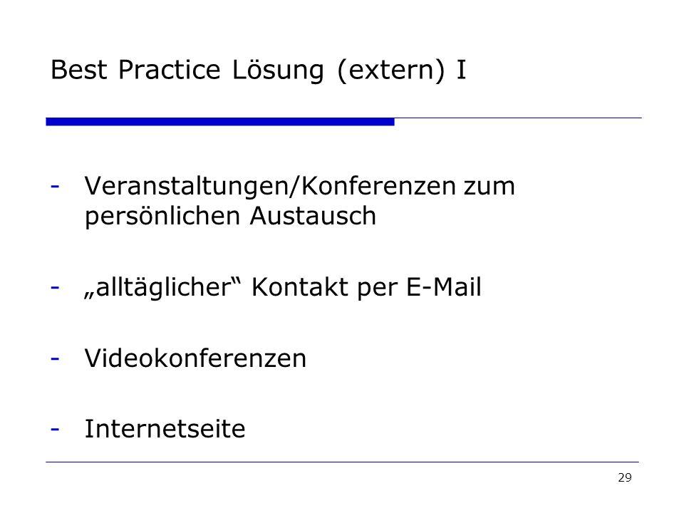 29 Best Practice Lösung (extern) I -Veranstaltungen/Konferenzen zum persönlichen Austausch -alltäglicher Kontakt per E-Mail -Videokonferenzen -Internetseite
