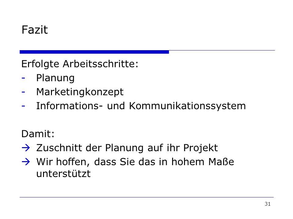 31 Fazit Erfolgte Arbeitsschritte: -Planung -Marketingkonzept -Informations- und Kommunikationssystem Damit: Zuschnitt der Planung auf ihr Projekt Wir