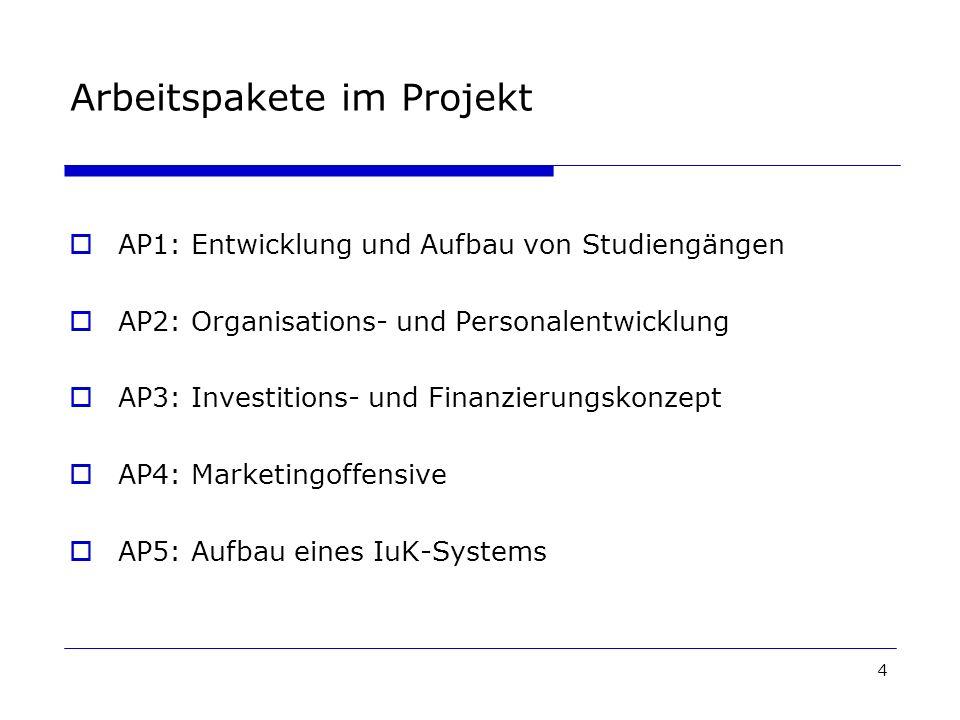 4 Arbeitspakete im Projekt AP1: Entwicklung und Aufbau von Studiengängen AP2: Organisations- und Personalentwicklung AP3: Investitions- und Finanzierungskonzept AP4: Marketingoffensive AP5: Aufbau eines IuK-Systems
