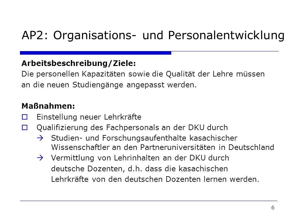 6 AP2: Organisations- und Personalentwicklung Arbeitsbeschreibung/Ziele: Die personellen Kapazitäten sowie die Qualität der Lehre müssen an die neuen Studiengänge angepasst werden.
