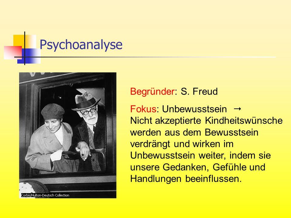 Begründer: S. Freud Fokus: Unbewusstsein Nicht akzeptierte Kindheitswünsche werden aus dem Bewusstsein verdrängt und wirken im Unbewusstsein weiter, i