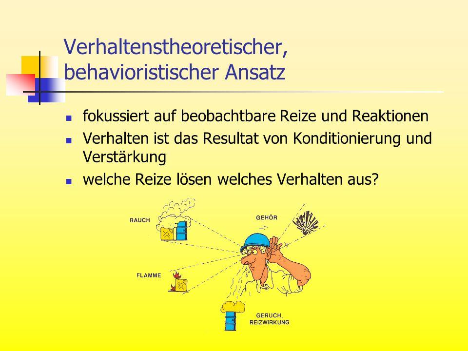 Verhaltenstheoretischer, behavioristischer Ansatz fokussiert auf beobachtbare Reize und Reaktionen Verhalten ist das Resultat von Konditionierung und
